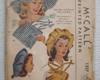 vintage 1337 McCall HATS & BAG sewing pattern