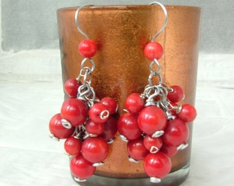 Coral earrings bamboo and aluminum wire