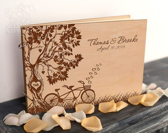 Guestbook Wedding guest book Custom guestbook Rustic wedding wooden guestbook Tandem Bike Tree wedding guest book Wedding Keepsake Weddings