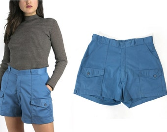 70s vtg Deadstock High Waisted Hiking Shorts Blue Size 30 / 10 / 12