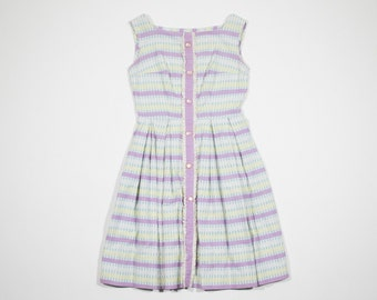 Dress blue and pink striped-50s vintage 50