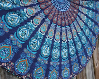 Roundie / Round fabric - Colors include blues, browns and more - Beach, Yoga, Dorm, College Mandala Bohemian Boho