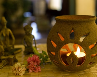 Ceramic Tea-light Candle Holder - Sun Rays with Free Candle