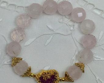 Faceted Rose Quartz Bead Bracelet