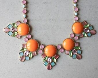 Citrus Orange Flower Statement Crystal Necklace