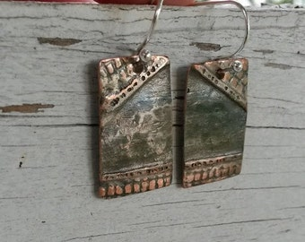Folded copper textured hammered rectangle earrings