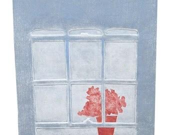 Window shade 1, collograph
