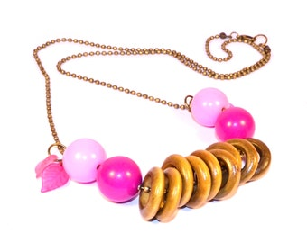 Pink Necklace, Charms Rings, Pink Beads, Petals, For Spring, Summer trends 2016