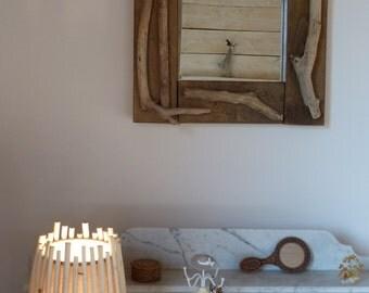 miroir en bois d coup grav d 39 un chat et peint la. Black Bedroom Furniture Sets. Home Design Ideas