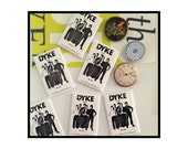 DYKE IS OUT! Are you?  Rectangular Fridge Magnet. Image from 1975, Lesbian Feminist, Lesbian Fashion, Lesbian Culture, Gift for grads.