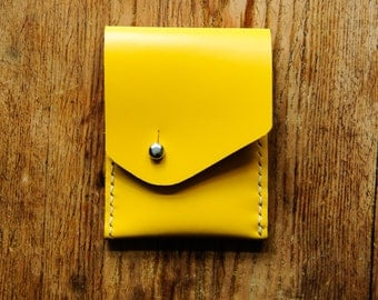 Leather wallet money purse card holder yellow
