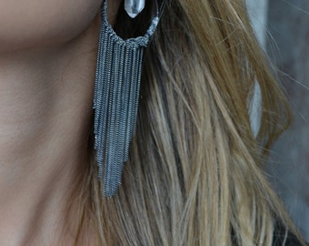 Crystal and Fringe Earring