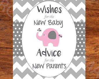 Baby Shower Advice Book - Printable Sign - Elephant Chevron - Girl