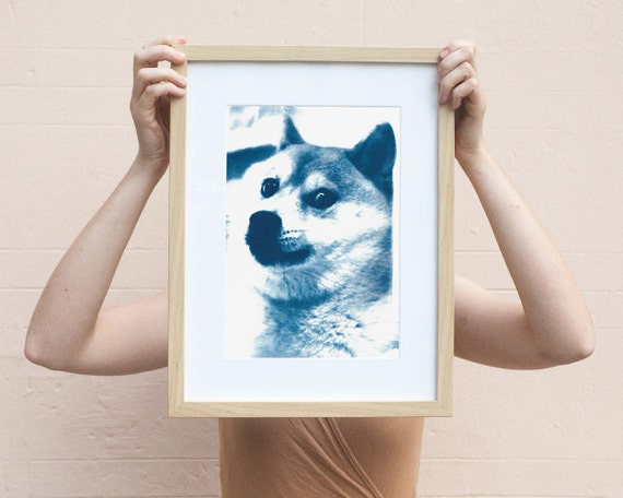 Doge Meme! Wow! Much Cool! Such Cyanotype Print on Watercolor Paper! A4 size (Limited Edition)