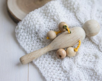 Beech Rattle. Organic Wooden Teether. Natural Teething Toy. Handmad Rattle with Juniper Beads. Eco Friendly.