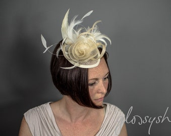 Beautiful Ivory Sinamay Headpiece With Removeable Hairband