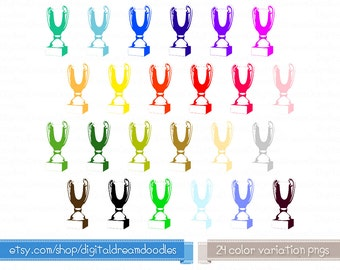 Trophy Clipart, Award Clipart, Prize Clipart Stamp, 1st Place Image, Trophy Medal Clipart - Coloring Trophies Clipart Craft Instant Download