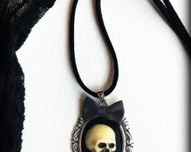 Skull Cameo Necklace, Gothic Victorian, Antique Silver Frame with Bow