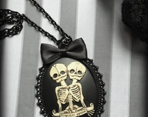 Gothic Cameo Necklace - Antiqued Skeleton Conjoined Twins Necklace - Steampunk Victorian