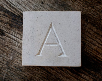 Letter 'A' Hand Carved In Beautiful White Portland Stone Standing Stone Fossil Tablet Everlasting Wedding Christening Gift Personalised Art