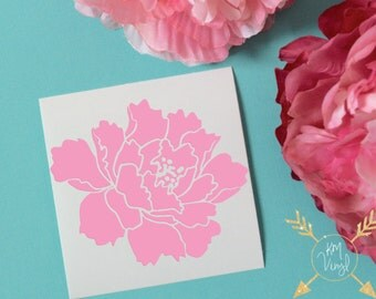 Peony Glossy Vinyl Decal, Flower Sticker, Peonies