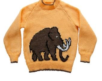 Childrens Mammoth Motif Knitting Pattern, Childs Sweater, Knitting Pattern PDF