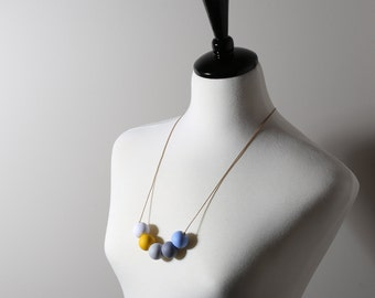 bead necklace with polymer clay beads in different colours/gifts for her/bridesmaid gifts/ladies birthday gifts/modern necklace