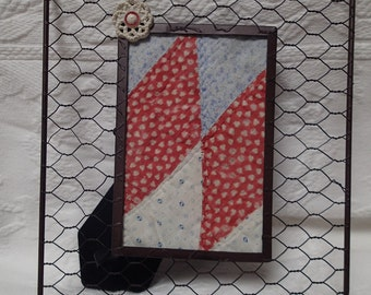 Vintage Quilt Artwork. Red White and Blue. Unique. Vintage Button. Primitive. Home Decor. Chicken Wire Frame. Handmade. One-of-a-Kind.