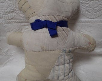 Quilted Teddy Bear. Vintage Quilt. Teddy Bear silhouette. Handmade. Primitive. Patchwork Quilt. One-of-a-Kind. Stuffed Animal.
