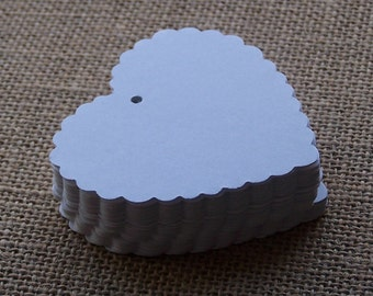 """GIFT TAGS 50 pcs. WHITE cardstock 2.75"""" scalloped hearts/blank/die cut/23sweets/wedding/rustic/party/gift/hang tags/scrap booking/paper"""
