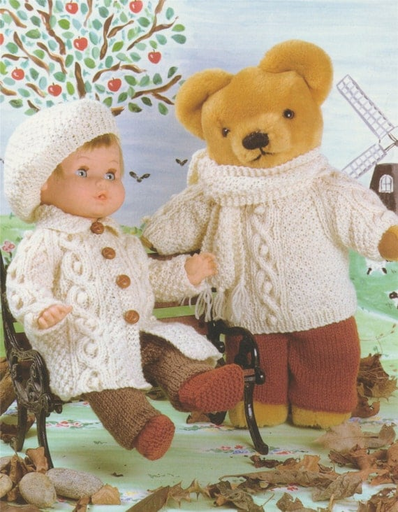 Knitting Pattern Clothes Teddy Bear : Doll and Teddy Bear Clothes PDF Knitting Pattern : 12 14 15