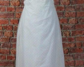 Vintage 70s Wedding Evening Dress White Long Victorian Style Polka Dot Long Size XS