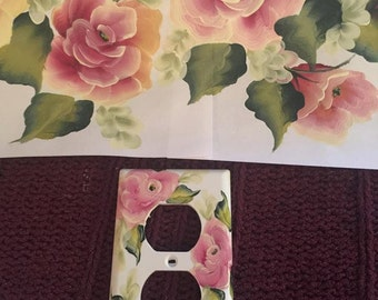 Hand-painted Light Switchplates Burgundy/Pink Roses Shabby Chic, Victorian