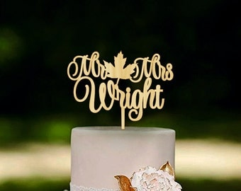 Fall Wedding Cake Topper Fall in Love Cake Topper Last Name Wooden Mr and Mrs Cake Topper Fall Wedding Autumn Wedding