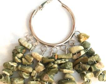Silver Hoop Earrings With Green Stone