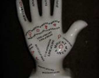 PALMISTRY Hand White Porcelain Red & Black Printing Office, Bookcase Decorative or Instructional Item