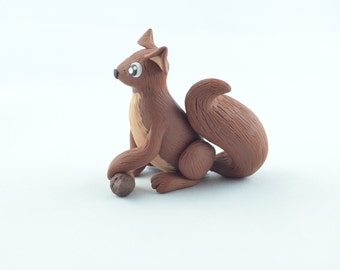 squirrel figurine, handmade squirrel, polymer clay squirrel, cute squirrel, tiny squirrel miniature squirrel