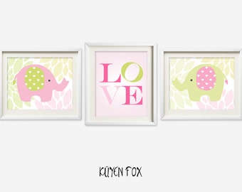Pink elephant wall art - elephant nursery art - kids wall art - Nursery Decor - love wall decor - elephant wall print - elephant decor