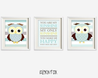 Blue owl wall art - owl nursery art - kids wall art - Nursery Decor - you are my sunshine nursery art - phrase wall art - boy decor