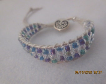 0028-White Leather Ladder Bracelet with Aqua and Violet beads