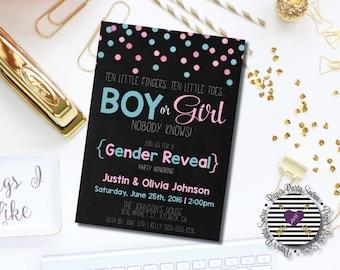 Gender Reveal Party Invitation, Gender Reveal Baby Shower Invitation, Surprise Gender Reveal Party Invitation