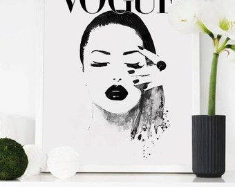 Magazine cover. Printable poster.  Magazine print. Fashion cover. Fashion printable art. Fashion poster. Watercolor fashion art