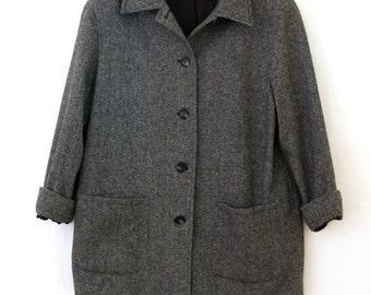 Estate Jacket — 1980s vintage Jordan & Cole tweed herringbone jacket // black and white wool button jacket // made in USA // medium // large