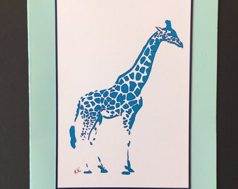 Blue Giraffe Greeting Card