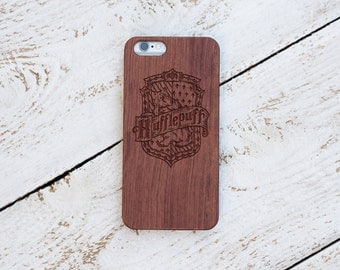 Harry Potter, Wood Case, Hufflepuff, iPhone 7, 7 Plus, 6s, 6 6 Plus, 5s, 5, SE, Samsung Galaxy S7, S6, Note 7, Cover, Laser Engraved #4056
