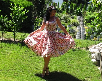 Pinup dress 'Pinky Cherries' READY TO SHIP, pink cherry dress, rockabilly dress