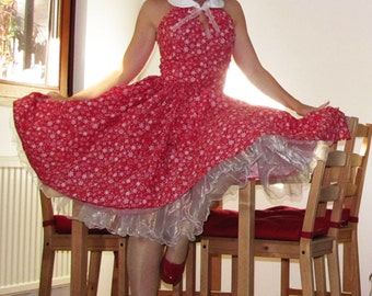 Pinup dress 'Hitchike dress Snowflakes', 2 COLORS AVAILABLE Chrismas dress, snowflakes Rockabilly dress