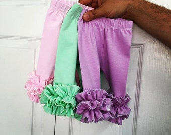 Double ruffle newborn leggings, ruffle icings, infant knit ruffle pants, double ruffle icings, lavender , mint, pink, coming home outfit
