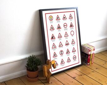 Funny British Road Signs Poster Print
