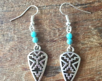 Navajo turquoise and Silver earrings